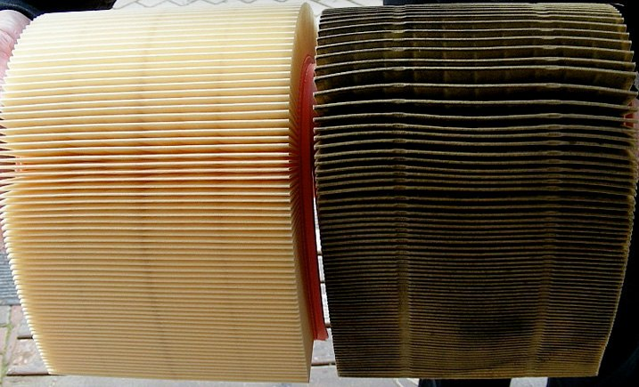 New / Old Dirty Engine Air Filter