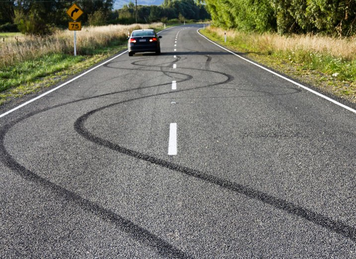 Road Covered With Skid Marks