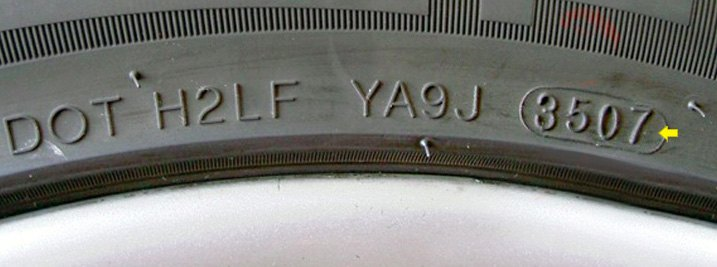 Precise Age Of Tire Stamped On Sidewall