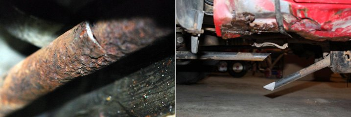 Rusted / Cracked Torsion Bar Vs Completely Broken One