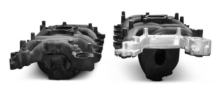 Ford Plastic Intake Manifold With and Without Aluminum Reinforcements