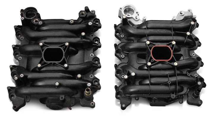 An Original Factory Ford 4.6-Liter Plastic Intake Manifold and An Improved Replacement