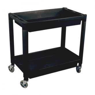 Astro Pneumatic Tool® - 2 Shelf Black Heavy Duty Plastic Utility Cart