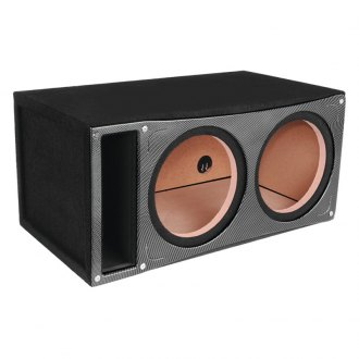 "Atrend® - 12"" Dual Vented Sealed Slammer Black pearl Carbon Fiber Subwoofer Box"