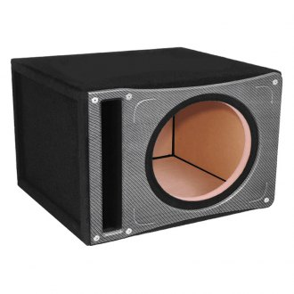 "Atrend® - 12"" Single Vented Slammer Black Pearl Carbon Fiber Subwoofer Box"