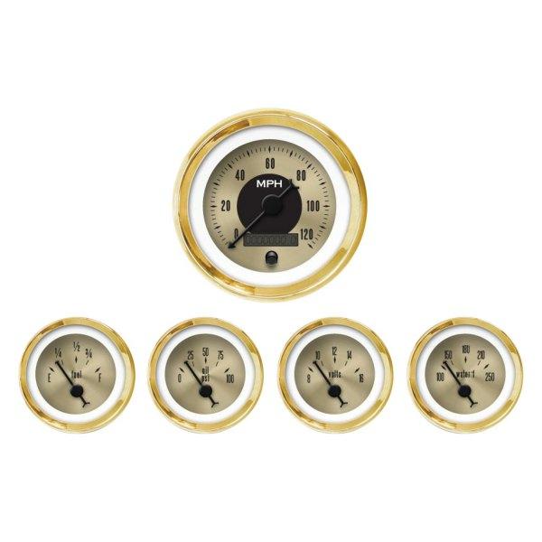Aurora Instruments GAR2128ZEXQAABC American Classic Gold VI 5-Piece Gauge Set