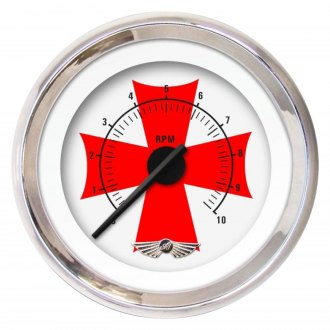 Aurora Instruments® - Iron Cross White and Red Tachometer Gauges
