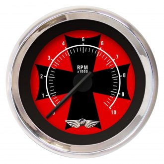 Aurora Instruments® - Iron Cross Red and Black Tachometer Gauges