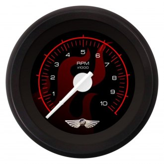Aurora Instruments® - Ghost Flame Black and Red Tachometer Gauges