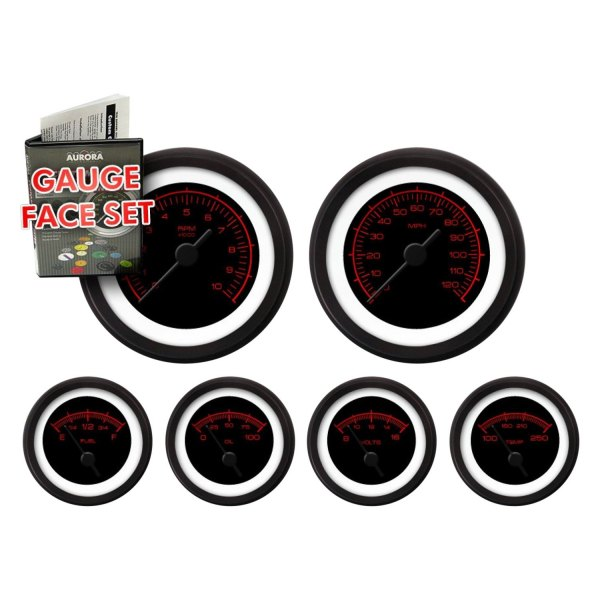 Aurora Instruments GARFE30 Competition Red//Black Gauge Face Set