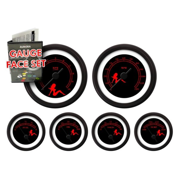 GARFE73 Mudflap Red//Black Gauge Face Set Aurora Instruments