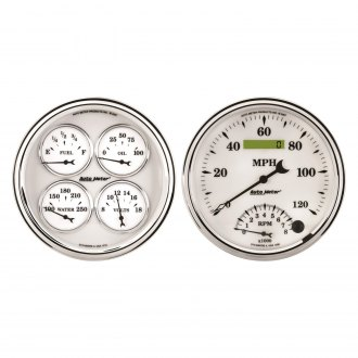"Auto Meter® - Old Tyme White II Series 5"" Quad and Tachometer/Speedometer Gauge"