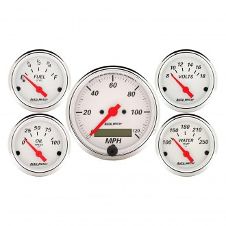 Auto Meter® - Arctic White™ 5-Piece In-Dash Gauge Kit