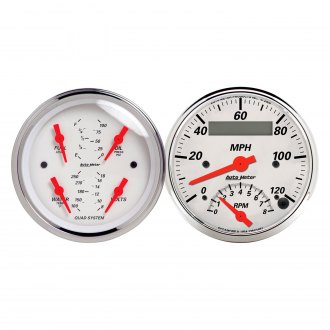 "Auto Meter® - Arctic White Series 3-3/8"" Quad and Tachometer/Speedometer Gauge"