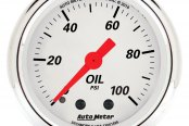 "Auto Meter® - Arctic White™ 2-1/16"" Full Sweep Mechanical Oil Pressure Gauge, 0 - 100 psi"