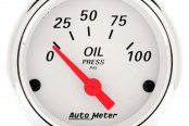 "Auto Meter® - Arctic White™ 2-1/16"" Short Sweep Electric Oil Pressure Gauge, 0 - 100 psi"