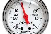 "Auto Meter® - Arctic White™ 2-1/16"" Mechanical Boost / Vacuum Gauge, 30"" Hg / 20 psi"