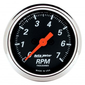 Auto Meter® - Designer Black™ 2-1/16 In-Dash Tachometer with Chrome Bezel , 0 - 7000 RPM