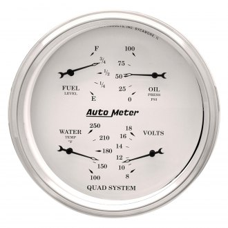 Auto Meter® - Old Tyme White™ Fuel Level/Oil Pressure/Water Temperature/Voltmeter In-Dash Gauge