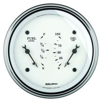 Auto Meter® - Old Tyme White Fuel/Oil Pressure In-Dash Gauge