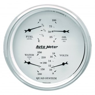 Auto Meter® - Old Tyme White Fuel Level/Oil Pressure/Water Temperature/Voltmeter In-Dash Gauge
