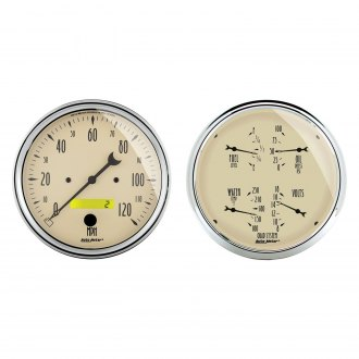 Auto Meter® - Antique Beige Series Quad and Speedometer Gauges