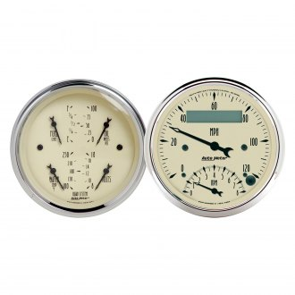 "Auto Meter® - Antique Beige Series 3-3/8"" Quad and Tachometer/Speedometer Gauge"