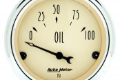 "Auto Meter® - Antique Beige™ 2-1/16"" Short Sweep Electric Oil Pressure Gauge, 0 - 100 psi"