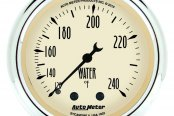 "Auto Meter® - Antique Beige™ 2-1/16"" Full Sweep Mechanical Water Temperature Gauge, 120 - 240 F"