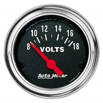 "Auto Meter® - Traditional Chrome Series 2-1/16"" Voltmeter Gauge, 8-18V"