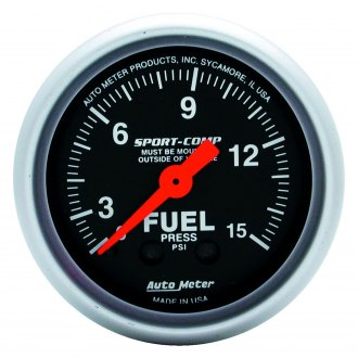 Auto Meter® - Sport-Comp™ 2-1/16 Mechanical Fuel Pressure Gauge without Isolator , 0 - 15 psi
