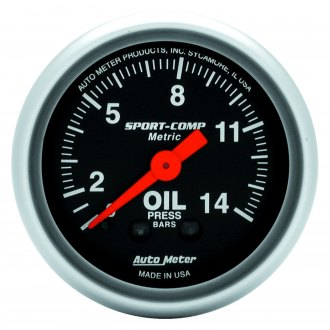 Auto Meter® - Sport-Comp™ 2-1/16 Mechanical Metric Oil Pressure Gauge, 0 - 14 Kg/Cm2