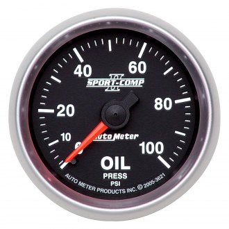 Auto Meter® - Sport-Comp II™ 2-1/16 Mechanical Oil Pressure Gauge , 0 - 100 psi