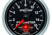 "Auto Meter® - Sport-Comp PC™ 2-1/16"" Electric EGT / Pyrometer Gauge, 0 - 1600 F"