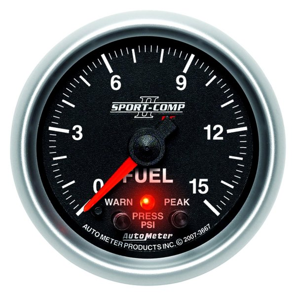 "Auto Meter® - Sport-Comp PC™ 2-1/16"" Electric Fuel Pressure Gauge, 0 - 15 psi"