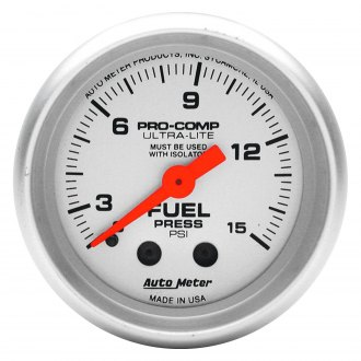 Auto Meter® - Ultra-Lite™ 2-1/16 Mechanical Fuel Pressure Gauge without Isolator , 0 - 15 psi