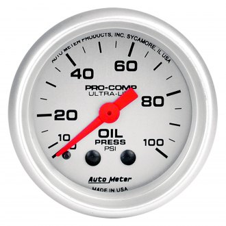 Auto Meter® - Ultra-Lite™ 2-1/16 Mechanical Oil Pressure Gauge , 0 - 100 psi