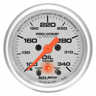 Auto Meter® - Ultra-Lite™ 2-1/16 Electric Oil Temperature Gauge with Peak And Warning , 100 - 340 F