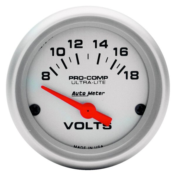 "Auto Meter® - Ultra-Lite™ 2-1/16"" Air-Core Meter Movement Electric Voltmeter Gauge, 8 - 18 V"