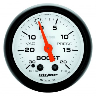 Auto Meter® - Phantom™ 2-1/16 Mechanical Boost / Vacuum Gauge , 30 Hg / 20 psi
