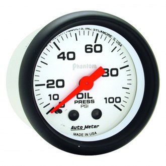 Auto Meter® - Phantom™ 2-1/16 Mechanical Oil Pressure Gauge , 0 - 100 psi