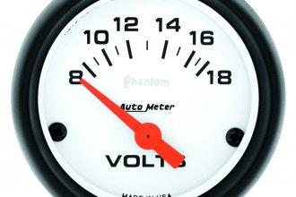 "Auto Meter® - Phantom™ 2-1/16"" Air-Core Meter Movement Electric Voltmeter Gauge, 8 - 18 V"