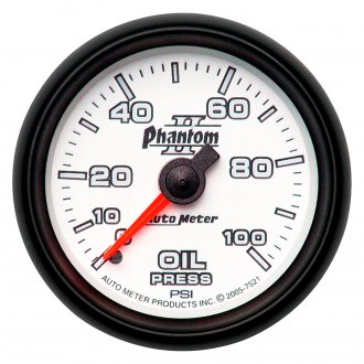 Auto Meter® - Phantom II™ 2-1/16 Full Sweep Mechanical Oil Pressure Gauge , 0 - 100 psi