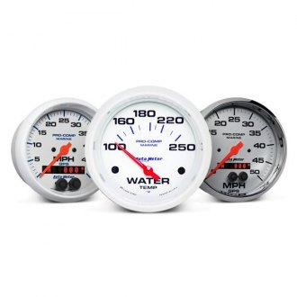 Auto Meter® - Marine Silver™ In-Dash Gauges