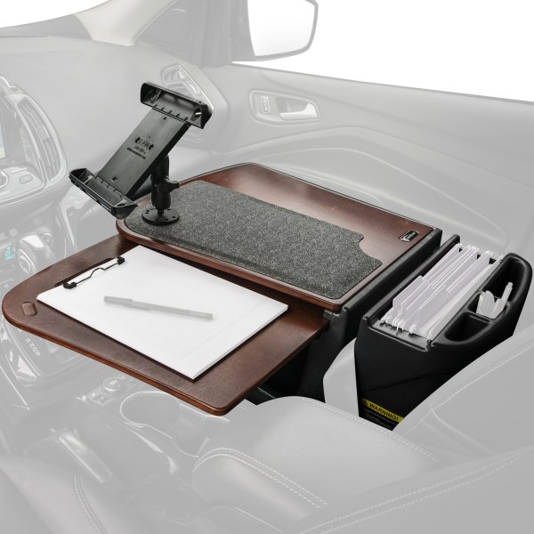 AutoExec® - GripMaster Mahogany Desk with Built-in Power Inverter and iPad/Tablet Mount