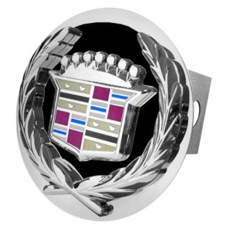 Autogold® - Chrome Hitch Cover with Cadillac Black and Chrome Logo