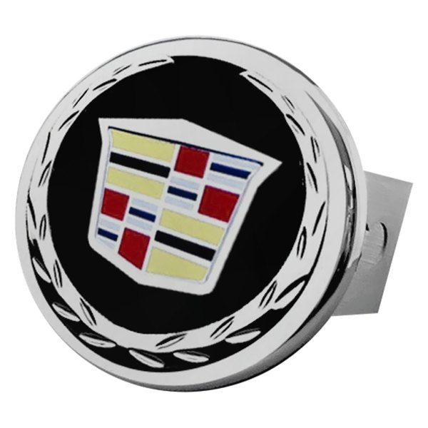 Autogold® - Black and Chrome Hitch Cover with Cadillac Logo