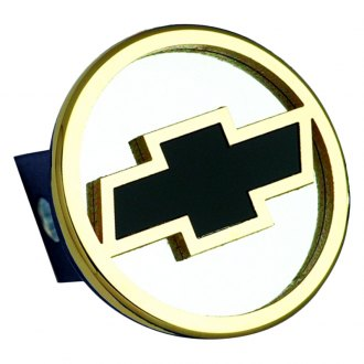 Autogold® - Gold Hitch Cover with Chevy Black Fill Logo