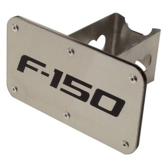 Autogold® - Brushed Stainless Hitch Cover with F-150 Logo