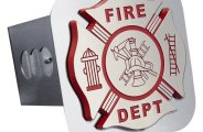 Autogold� - Chrome Hitch Cover with Fire Department Logo